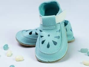 baby bare shoes aqua top stitch