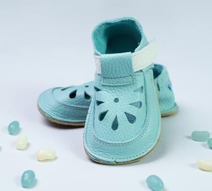 baby bare shoes aqua top stitch