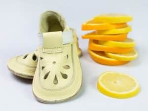 baby bare shoes canary top stitch