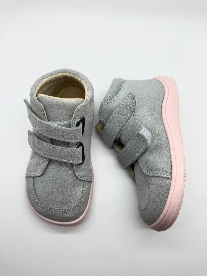Baby Bare Shoes - FEBO FALL - Grey/Pink - Velúrová koža 1