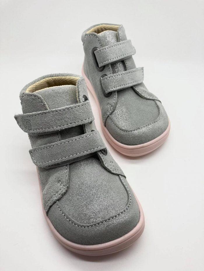 Baby Bare Shoes - FEBO FALL - Grey/Pink - Velúrová koža 2