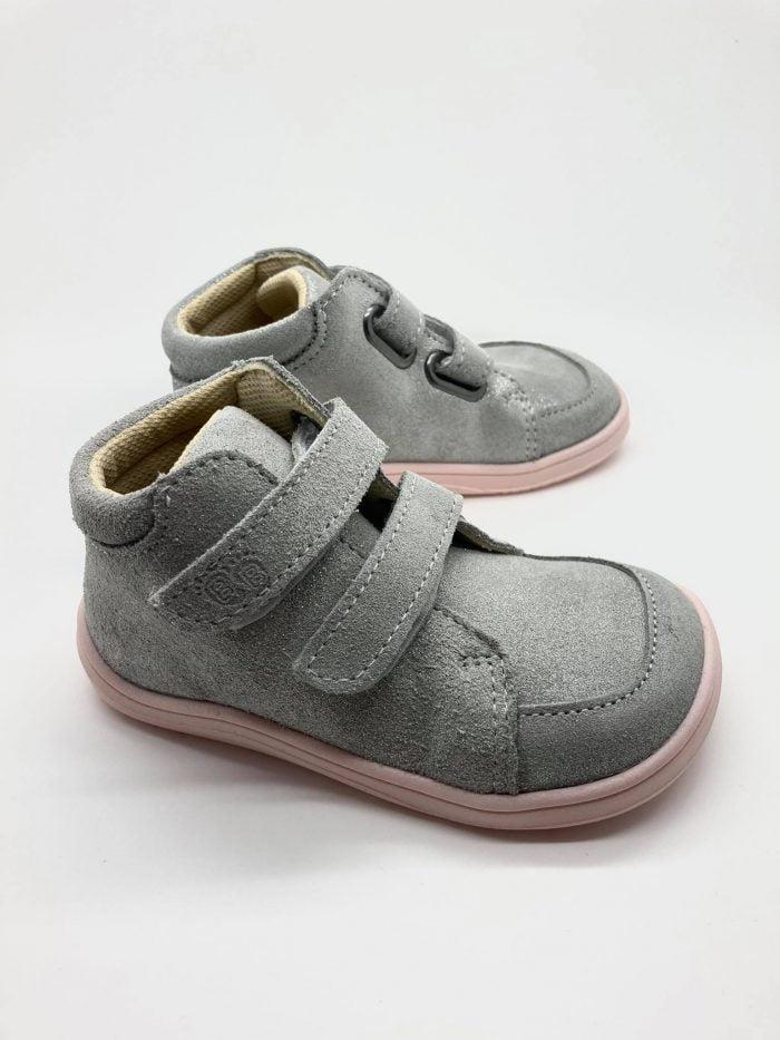 Baby Bare Shoes - FEBO FALL - Grey/Pink - Velúrová koža 3