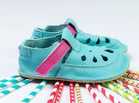 baby bare shoes flower top stitch