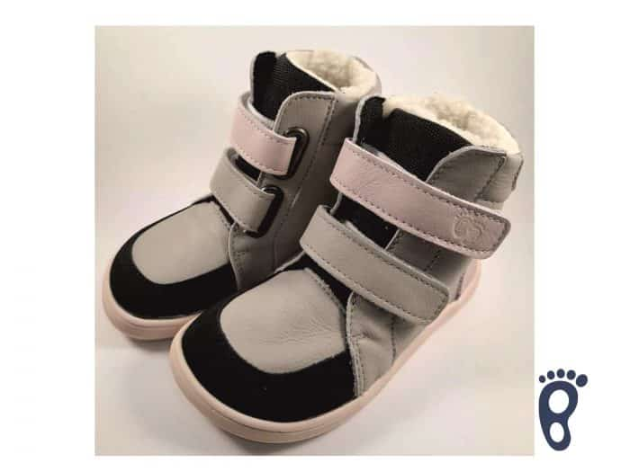 Baby Bare Shoes – Winter s membránou – Grey/Pink asfaltico 1