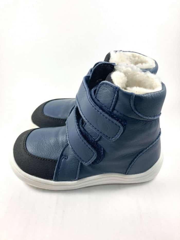Baby Bare Shoes - Winter s membránou - Navy asfaltico s bielou podrážkou 1