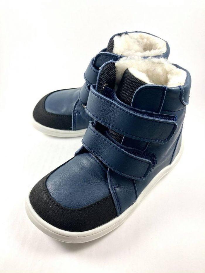 Baby Bare Shoes - Winter s membránou - Navy asfaltico s bielou podrážkou 2