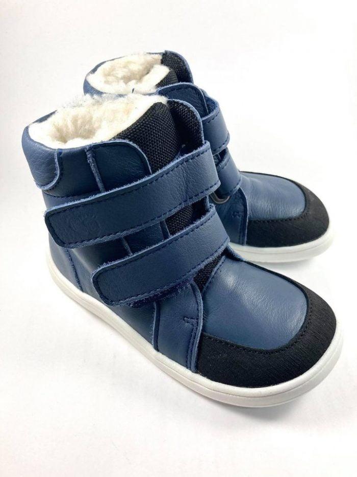 Baby Bare Shoes - Winter s membránou - Navy asfaltico s bielou podrážkou 3