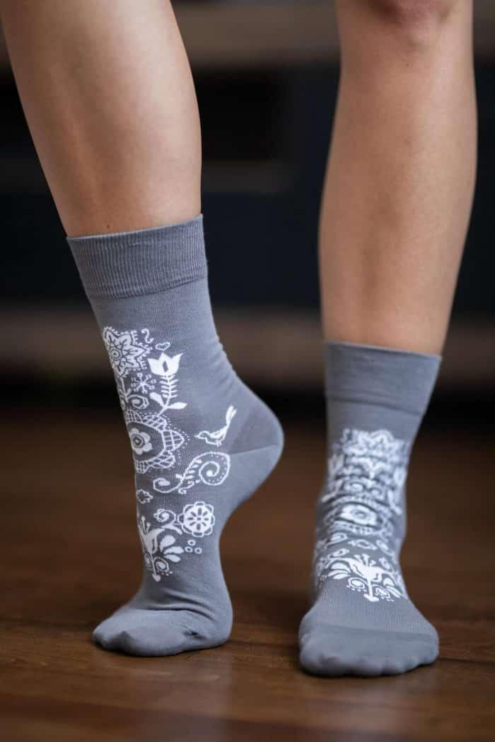 Barefoot ponožky - BeLenka - Folk - sivé 2