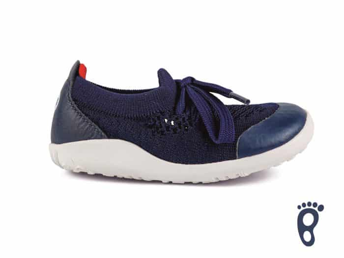 Bobux – I walk/Kid+ Play Knit Trainer Navy Red 1