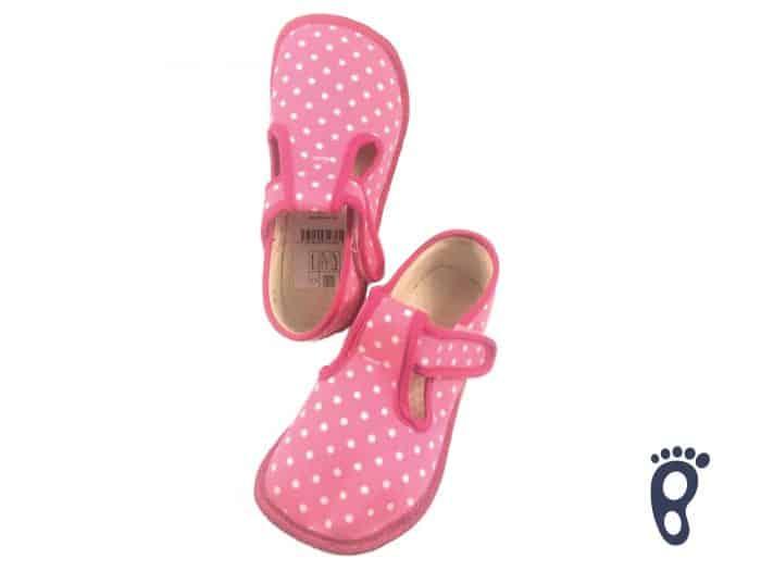 BOTY BEDA - Papučky - Ružové s bielymi bodkami 1