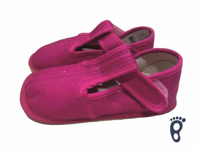 BOTY BEDA - Papučky - Ružové s trblietkami - SLIM verzia 1