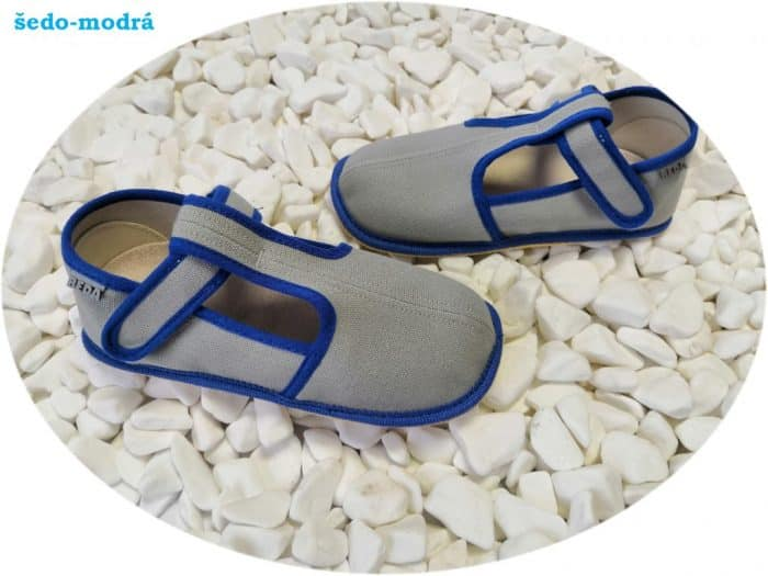boty beda papucky slim verzia sedo modre