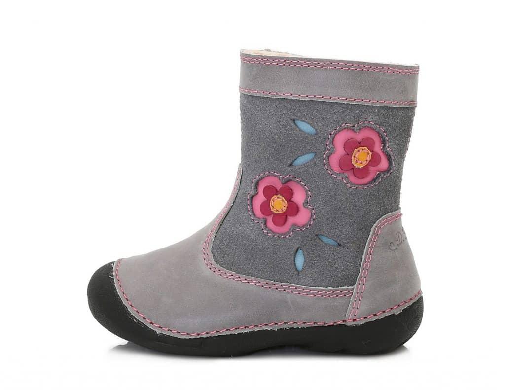 361d12420e D.D.Step - Zimné čižmičky - Grey - S kvetmi • Bosáčik