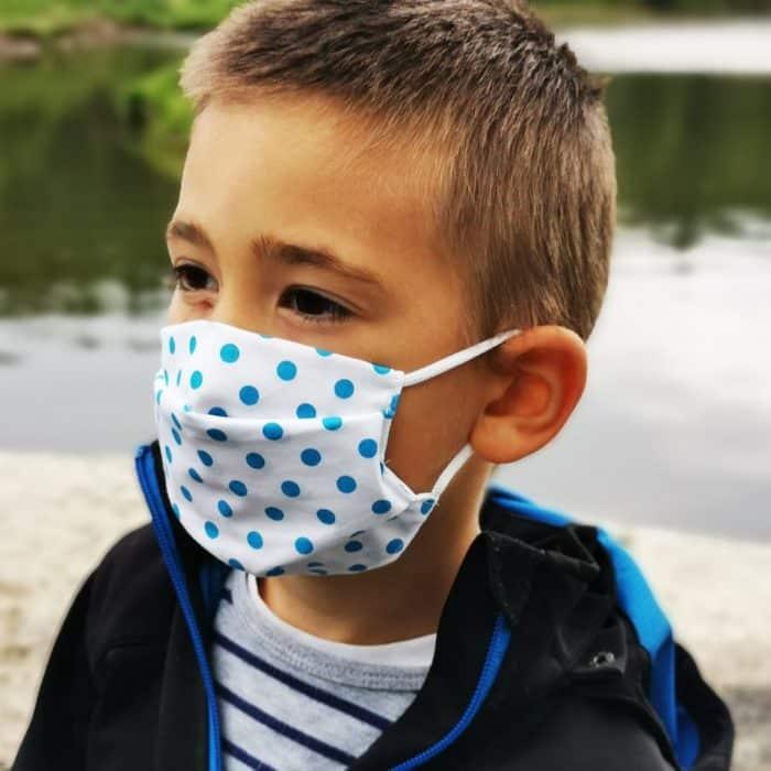Detské bavlnené rúško - Modré - gumička 1