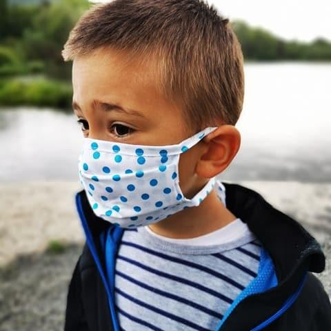 Detské bavlnené rúško - Modré - šnúrky 1