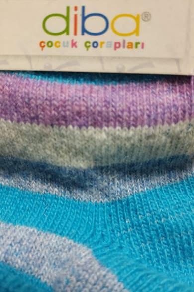 Diba - Vlnené ponožky - Pásikavé - Modré 1