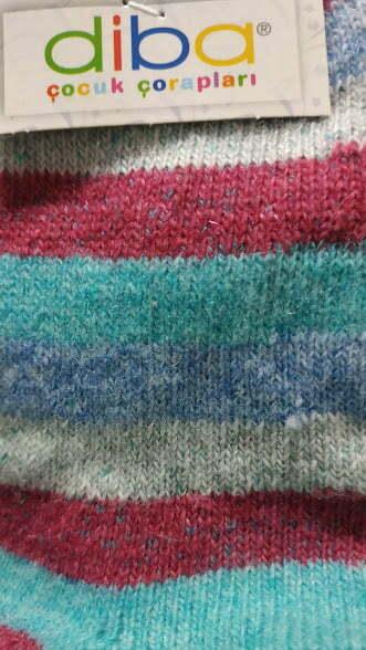Diba - Vlnené ponožky - Pásikavé - Ružovo - zelené 1