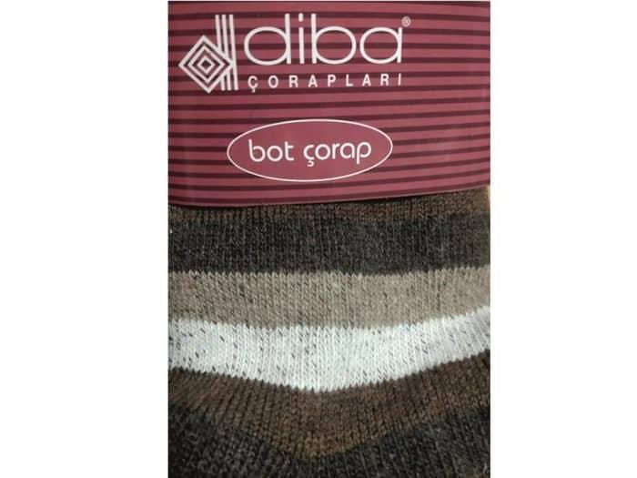 Diba - Dámske vlnené ponožky - Pásikavé - Hnedé 1