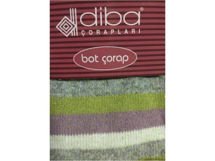 Diba - Dámske vlnené ponožky - Pásikavé - Zelené 1