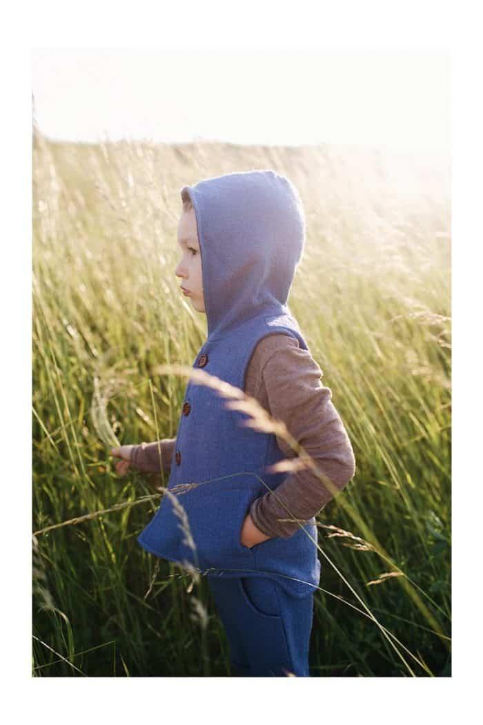 dorfsheep obojstranna vesta s kapucnou modra