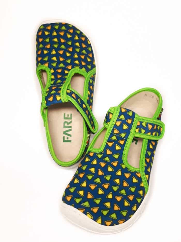 Fare Bare - Papučky na suchý zips - Farebné trojuholníky - Zelené 2
