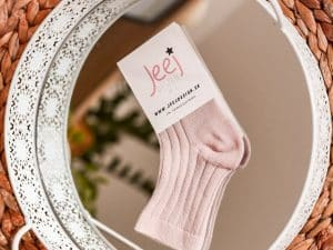 jeej design vrubkovane ponozky baby kids powdery pink