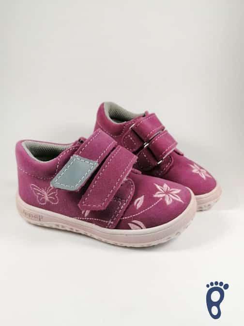 Jonap - B1SV- Dievčenské tenisky - Ružové s kvietkom - SLIM 1