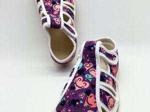 jonap papucky papuce dievcenske fialove srdiecka barefoot