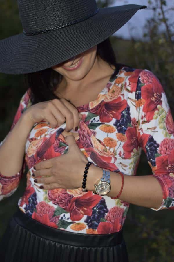 Mellien Design - Tričko na dojčenie s 3/4 rukávom - BIO úplet - jesenné kvety a hrozno 2
