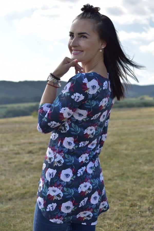 Mellien Design - Asymetrická tunika na dojčenie - exclusive rose turquoise 1