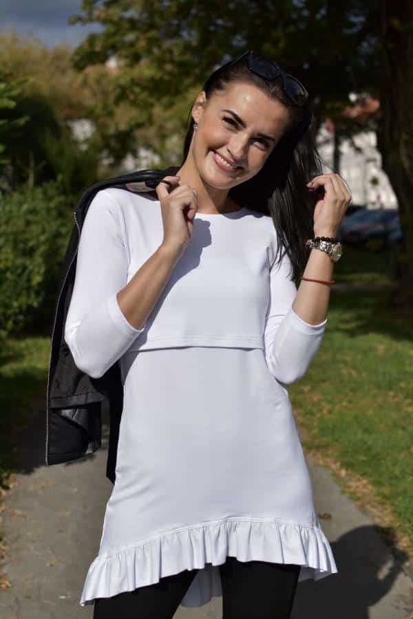 Mellien Design - Asymetrická tunika na dojčenie s fodrou - biela - dlhý rukáv 1