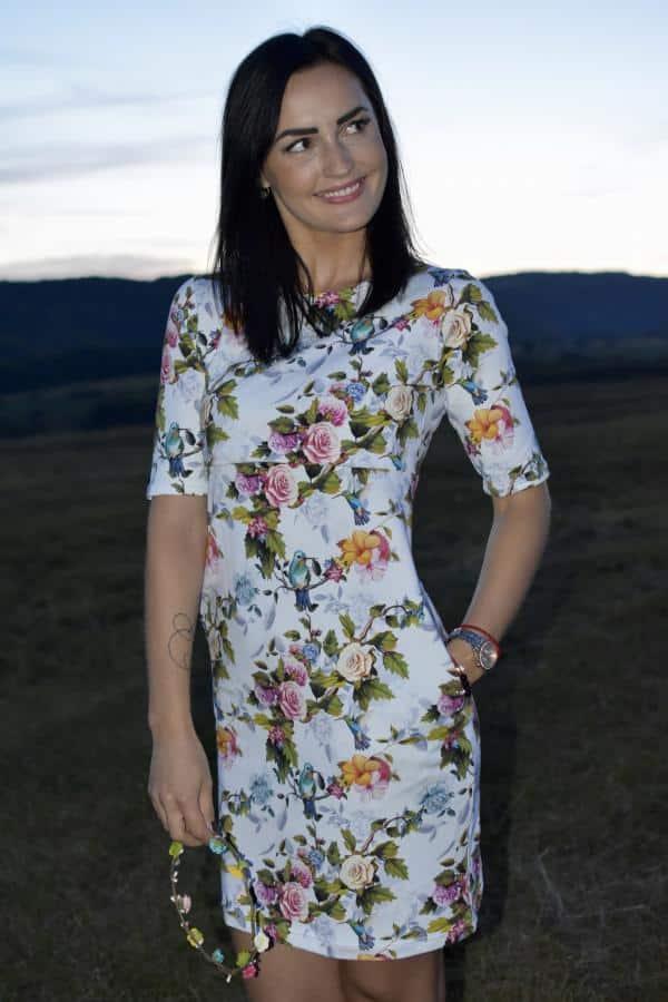 Mellien Design - Šaty na dojčenie - kolibríky a ruže 1