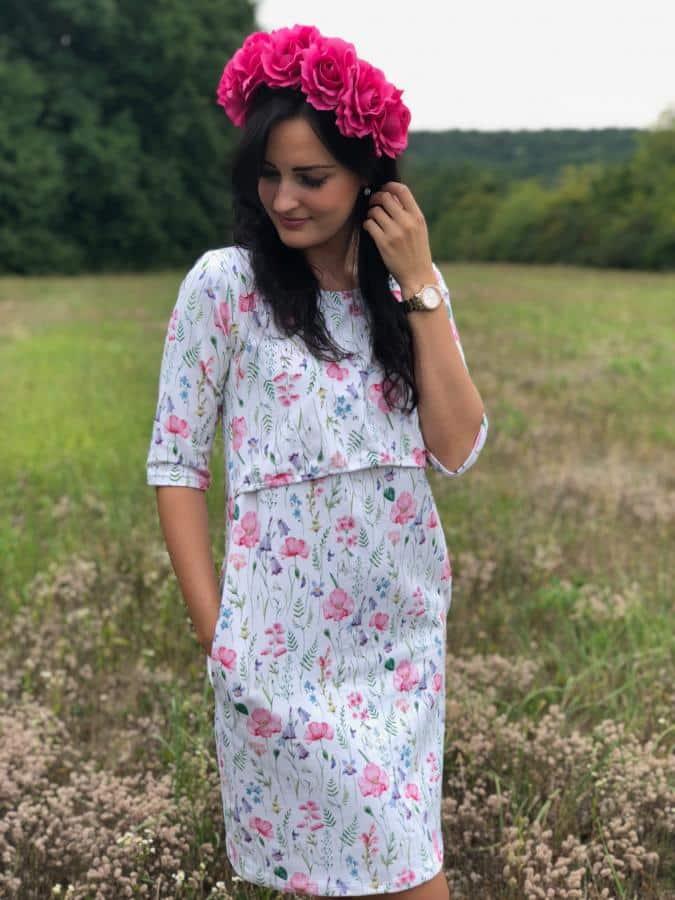 Mellien Design - Šaty na dojčenie s 3/4 rukávom - Maľovaná lúka 1
