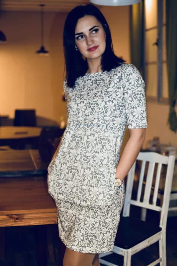 Mellien Design - Šaty na dojčenie s 3/4 rukávom - Sivá krajka 3
