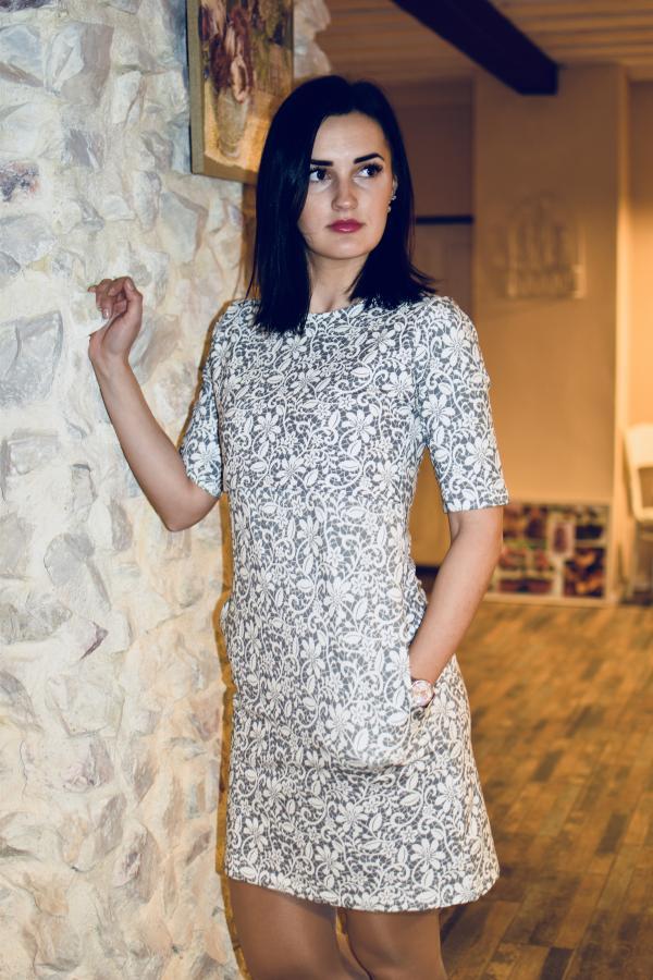 Mellien Design - Šaty na dojčenie s 3/4 rukávom - Sivá krajka 1
