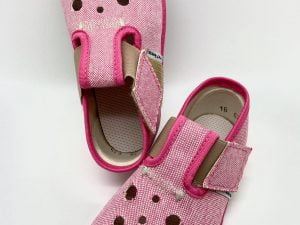 pegres barefoot papucky papuce ruzove s dierkami dievcenske pre deti