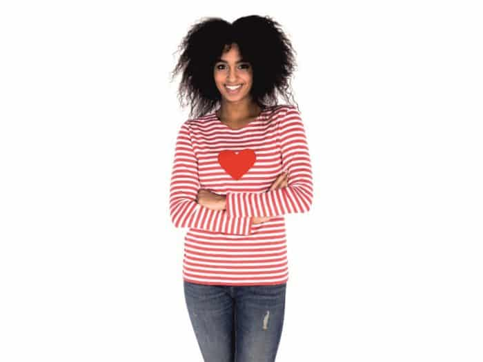 Pískacie - Tričko s dlhým rukávom - Červene pruhy s červeným srdcom - Dámske 1