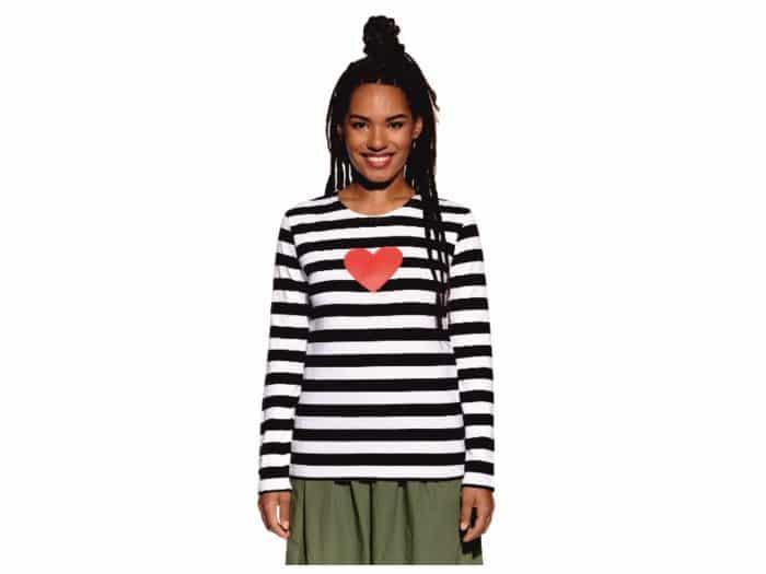 Pískacie - Tričko s dlhým rukávom - Čierne pruhy s červeným srdcom - Dámske 1