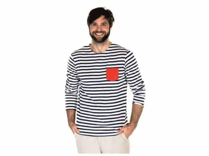 Pískacie - Tričko s dlhým rukávom - Čierne pruhy s červeným vreckom - Pánske 1