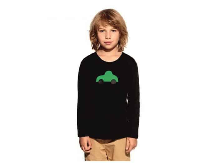 Pískacie - Tričko s dlhým rukávom - Čierne so zeleným autíčkom 1