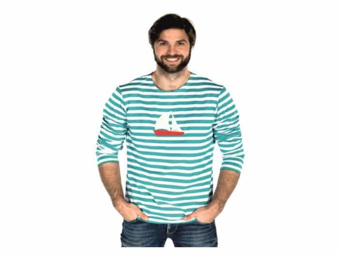 Pískacie - Tričko s dlhým rukávom - Modré pruhy s loďkou - Pánske 1