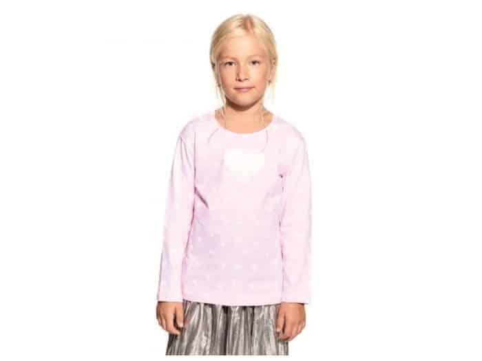 Pískacie - Tričko s dlhým rukávom - Ružové s bielym srdiečkom 1