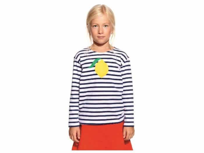 Pískacie - Tričko s dlhým rukávom - Tmavomodré pruhy s citrónom 1