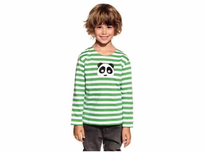 Pískacie - Tričko s dlhým rukávom - Zelené pruhy s pandou 1