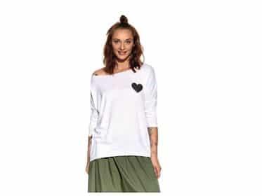 Pískacie - Tričko s dlhým rukávom - Biele s čiernym srdcom - Dámske 1