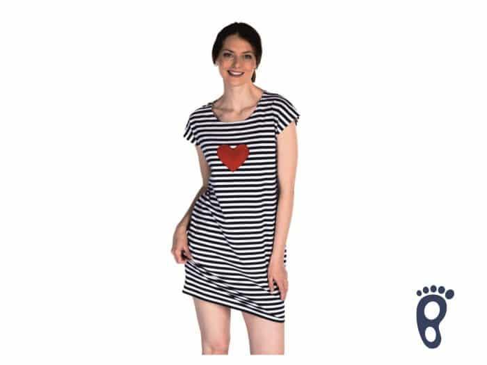Pískacie - dámske šaty - Srdiečko - Čierne prúžky 1