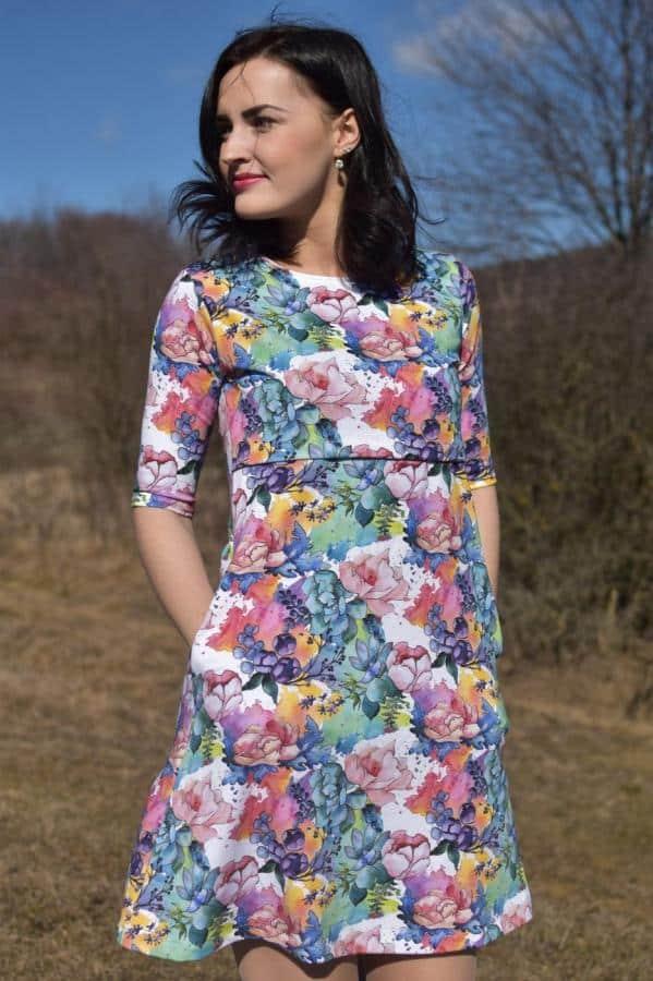 Mellien Design - Šaty na dojčenie s kratším 3/4 rukávom - Farebná záhrada 1