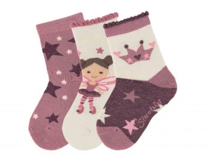 sterntaler ponozky trojbalenie vila a hviezdy svetlo fialova