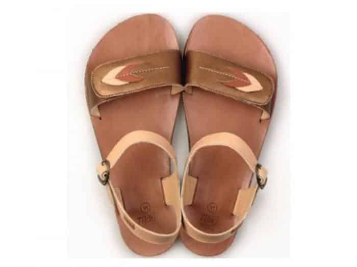 vibe barefoot damske sandale browny leaves