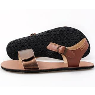 vibe barefoot damske sandale laminated bronze